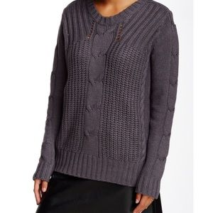 Michael Stars Zip Cable Knit Crew Neck Sweater
